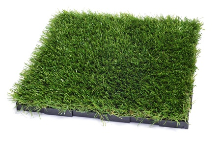 synthetic: artificial turf tile on a white background