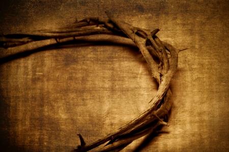 doornenkroon: een vertegenwoordiging van de Jezus Christus doornenkroon met een vintage effect Stockfoto