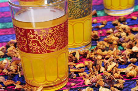 thirstiness: closeup of some ornamented glasses with turkish tea