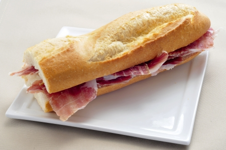 closeup of a spanish serrano ham sandwich served in a plate photo