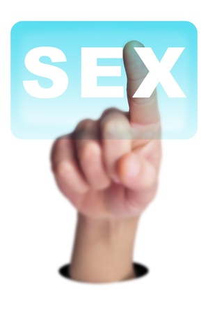 man finger clicking on a button with the word SEX written in it on a transparent screen