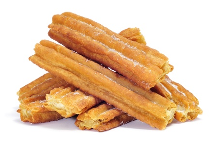 fritter: a pile of porras, thick churros typical of Spain
