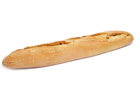 Primer plano de una baguette españoles sobre un fondo blanco Foto de archivo