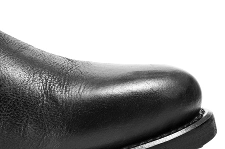 closeup of a black leather boot on a white background Stock Photo - 18126888
