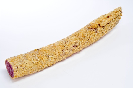 embutido: a piece of fuet, spanish sausage, coated with onion, on a white background