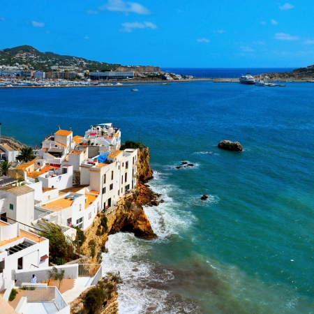 View of Sa Penya District in Ibiza Town, Balearic Islands, Spain photo