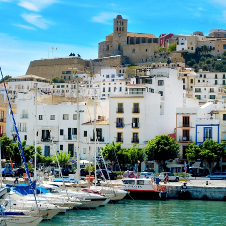 ibiza: Ibiza, Spain - September 17, 2012: Port and old town of Ibiza Town in Ibiza, Balearic Islands, Spain. With a population of 48,484, the city is the capital of this tourist island