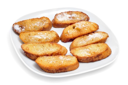 closeup of a plate with torrijas, typical spanish dessert for Lent and Easter Stock Photo - 18274918