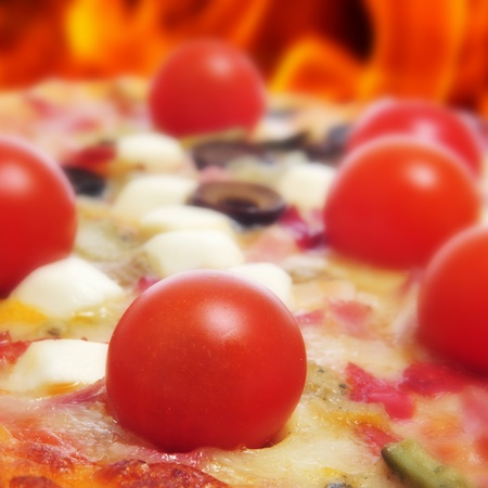 woodfired: closeup of a pizza in a forno a legna, a wood-fired woven Stock Photo