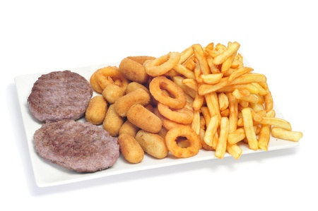 calamares: closeup of a spanish combo platter with burgers, croquettes, calamares and french fries