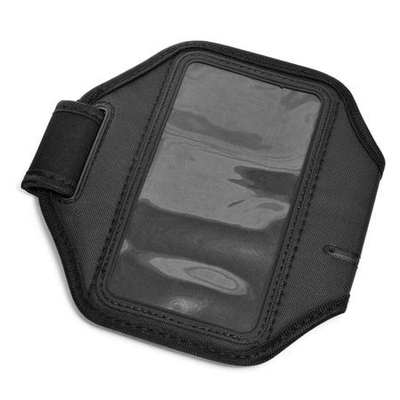 armband: primo piano di una fascia da braccio nero per lettore MP3 o smartphone su uno sfondo bianco Archivio Fotografico
