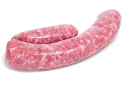 a raw pork meat sausage on a white background Stock Photo - 18416488