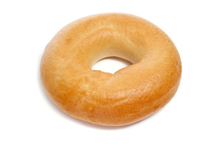 doughy: a plain bagel on a white background