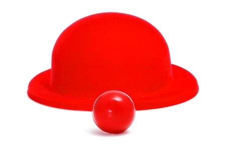 clown nose: red clown nose and red bowler hat