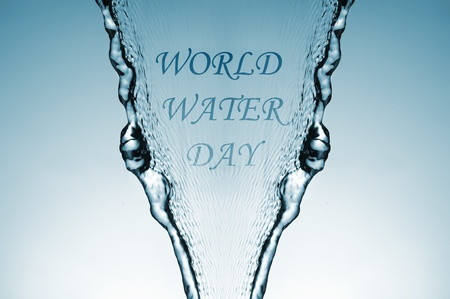 sentence world water day, celebrated every 22 March, on a water jet photo