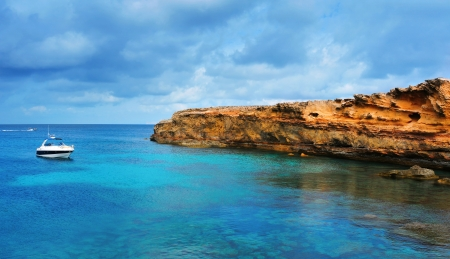formentera: view of Punta de Sa Pedrera coast in Formentera, Balearic Islands, Spain Stock Photo