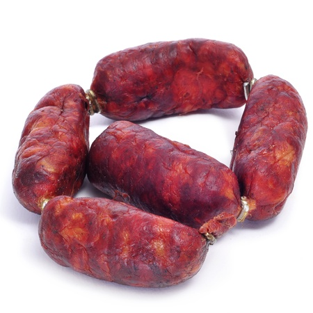 red spanish chorizos on a white background Stock Photo - 18624679