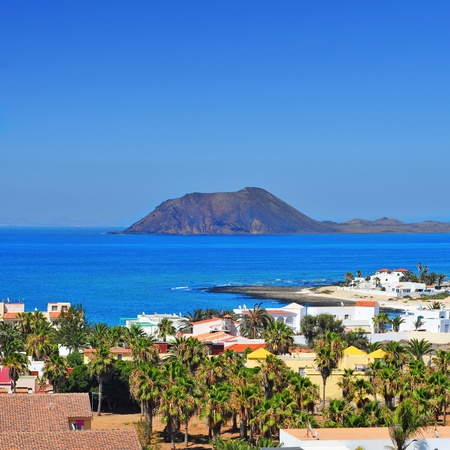 a view of Lobos Island from Corralejo in Fuerteventura, Canary Islands, Spain Stock Photo - 18625378