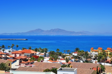 a view of Lobos Island from Corralejo in Fuerteventura, Canary Islands, Spain Stock Photo - 18707279