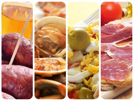 tapas: a collage of four pictures of different spanish tapas and dishes, such as chorizos, almejas, stuffed eggs and jamon