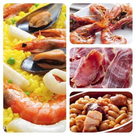 a collage of four pictures of different spanish tapas and dishes, such as paella, jamon or fabada photo