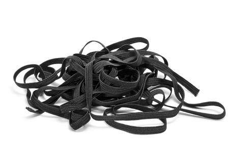elastic band: black sewing elastic band on a white background