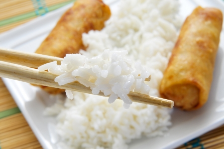 closeup of a plate with rice and some spring rolls photo