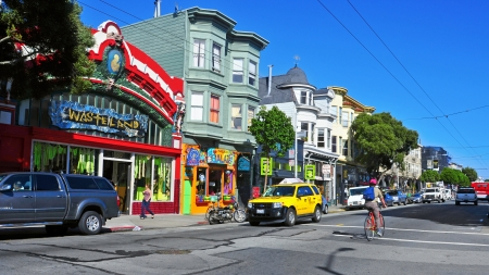 main street: San Francisco, US - October 19, 2011: Colorful stores in Haight Street in San Francisco. Haight Steet is the main street of famous Haight-Ashbury District, with its bohemian ambiance