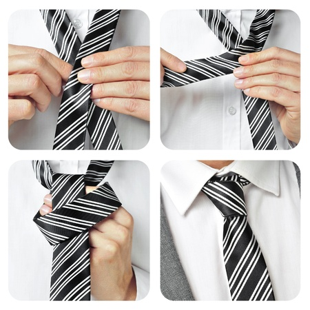 collage of a man knotting his tie in different steps photo