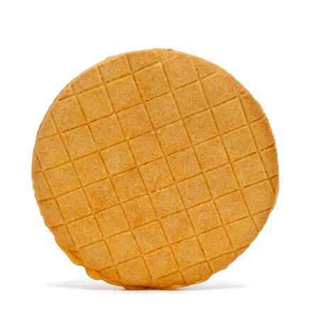 closeup of a stroopkoeken, dutch caramel biscuit, on a white background Stock Photo - 18871716