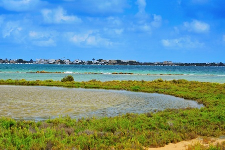 francesc: View of Estany Des Peix lagoon, in Natural Park of Ses Salines, in Formentera, Balearic Islands, Spain