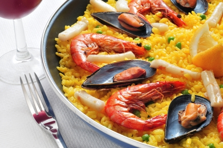 valencia: closeup of a typical paella from Spain