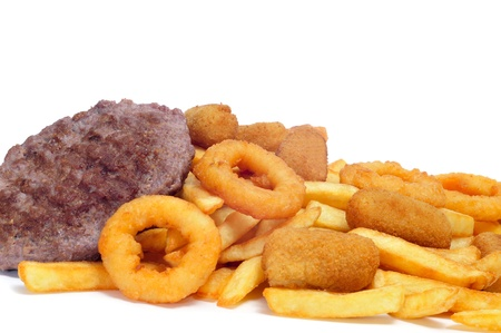 plato: spanish fattening food  burgers, croquettes, calamares and french fries, on a white background