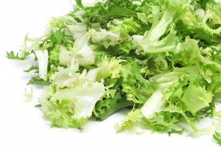 endive: some chopped leaves of escarole endive on a white background