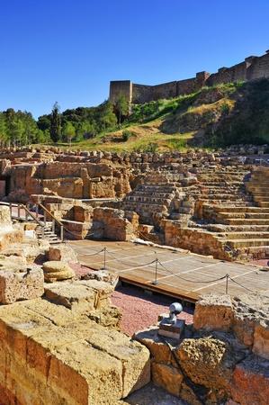 alcazaba: Roman Theater in Malaga, Spain, with the Alcazaba in the background