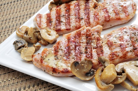 closeup of a plate with grilled chicken meat and mushrooms Stock Photo - 19266495