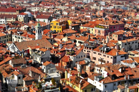 tilt: a view of Venice roofs, in Italy, with tilt shift lens effect Stock Photo