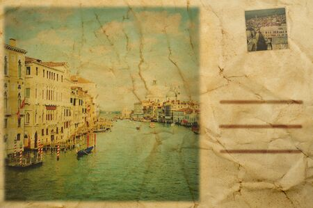 composition simulating a vintage postcard of Venice, Italy Stock Photo - 19365556