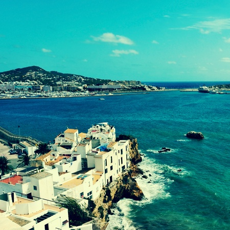 picture of Sa Penya District in Ibiza Town, Balearic Islands, Spain, with a retro effect photo