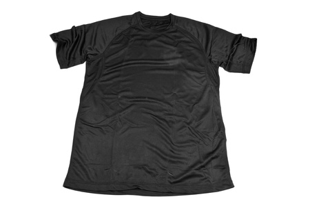 breathable: a black breathable polyester sports T-shirt on a white background