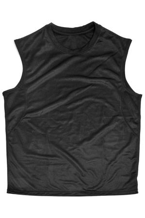 breathable: a black breathable polyester sports sleeveless T-shirt on a white background