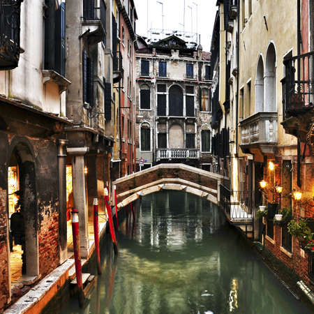 view of a charming place in a minor canal at sunset in Venice, Italy Stock Photo - 19365605