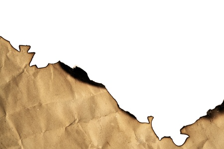burned paper on a white background photo