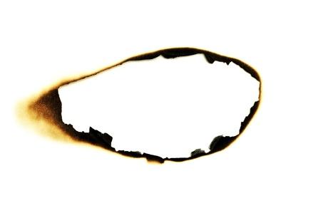burned hole on a white paper background photo