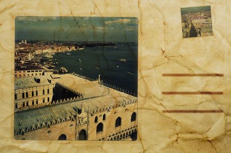 composition simulating a vintage postcard of Venice, Italy photo