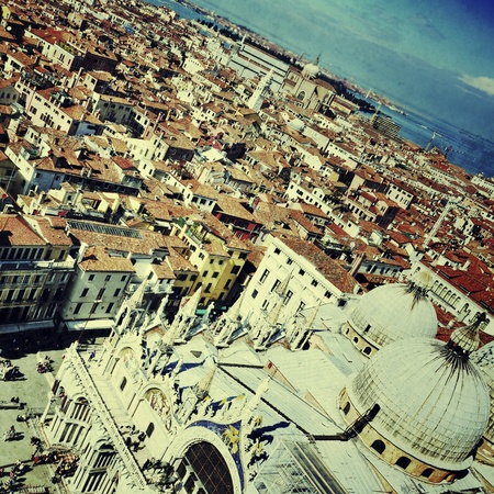 cattedrale: aerial view of Saint Mark Basilica and the roofs of Venice, Italy, with a retro effect Stock Photo