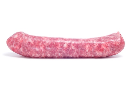 longaniza: a raw pork meat sausage on a white background
