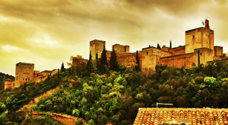 walled: a view of La Alhambra in Granada, Spain