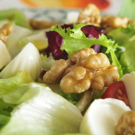 closeup of a plate with salad, with walnuts, cheese and tomato photo