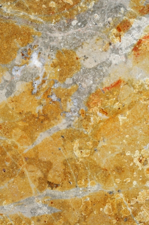 stonemasonry: close-up of a yellow and gray veined marble surface Stock Photo